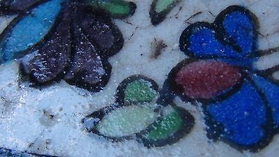 "ANTIQUE 18c-19c ARABIC ISLAMIC POTTERY GLAZED ""FLOWERS"" WALL PLAQUE 8"