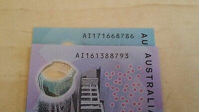 AUSTRALIA NEW $10 2017 AI17 & $5 2016 AI16 Same Prefix x 2 UNC Banknotes