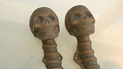 2 used aged SKULL handle DOOR PULL spine solid BRASS old vintage style 280mm B 2