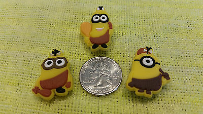 FAST USA SHIPPING! Set of 3 HULA MINIONS shoe charms//cake toppers!