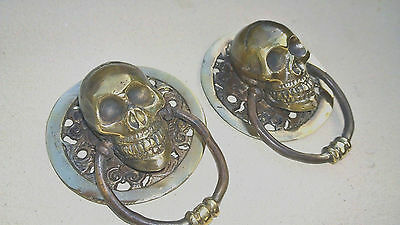 """2 SKULL head ring pull Handle solid BRASS 3.1/2"""" day of the dead cabinet door B 4"""