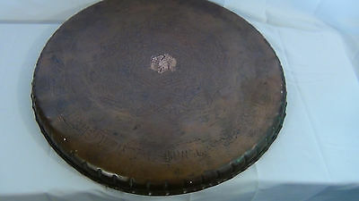 ANTIQUE 18c ARABIC ISLAMIC COPPER TRAY - 99 NAMES OF ALLAH IN ETCHED CALLIGRAPHY 3