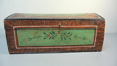 Great 19Th Century Hand Made Wooden Bride's Box, Dome Top, Original Paint 4