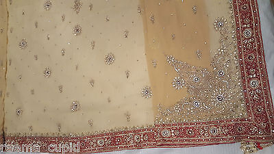 New Womens Cream Gold Maroon Wedding Dress Indian Pakistani Asian Small 8