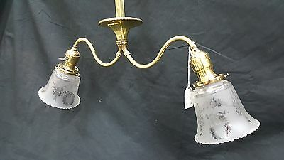 Antique Brass Ceiling Light Fixture Chandelier With Two Etched Glass Shades 2