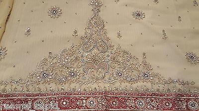 New Womens Cream Gold Maroon Wedding Dress Indian Pakistani Asian Small 10