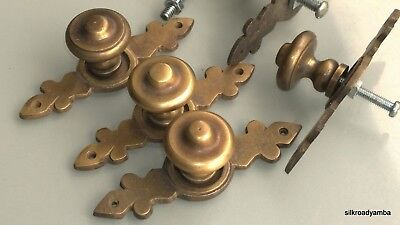 """6 pulls handle solid brass door vintage old style knobs kitchen heavy 3"""" aged B 2"""