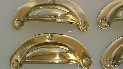 6 small heavy shell shape pull handle POLISHED solid brass vintage style 82mm B 3