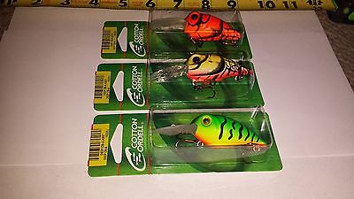 Lot of 3 Cotton Cordell Crawdad Crankbait fishing lures 3 inches long