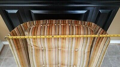 Vintage Gold Striped Velvet Fabric Tufted Arm Chair - VGC 2