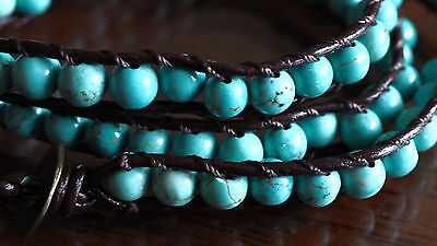 Medley Wrap Around Bracelet Blue Turquoise Bead Crystals Black Heal Ideal Gift