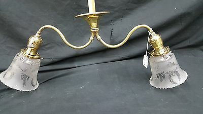 Antique Brass Ceiling Light Fixture Chandelier With Two Etched Glass Shades 6