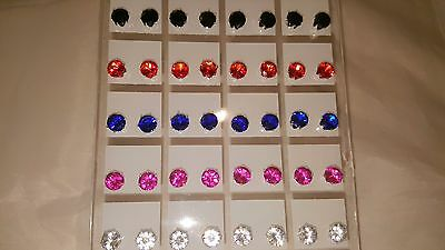 Joblot of 36 Pairs Mixed colour round 6 mm Crystal stud Earrings wholesale 2