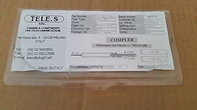 Fiber Optic Coupler 1x2 Tele.s S.R.L. SB1501-P02A SMF-28 1525-1565nm Pigtail NEW
