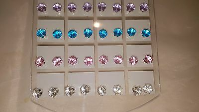 Joblot of 36 Pairs Mixed colour round 6 mm Crystal stud Earrings wholesale 3