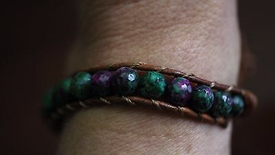 Ruby Zoisite Natural Crystal Beaded Bracelet Medley Positive Healing Ideal Gift 4