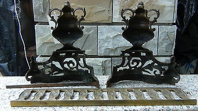 Pair Antique 18C French Brass Ormolu Andirons And Greed Between 8