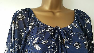 Ex M/&Co Size 8-20 Beaded Embellished Cobalt Blue Floral Print Tunic Top Blouse