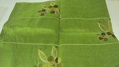 Nigerian Aso Oke Gele (Headtie) Apple Green with Green & Gold Flowers 1 Piece 2
