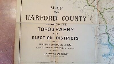 LARGE MARYLAND MAP - HARFORD COUNTY topography & Election Districts - 1922 4