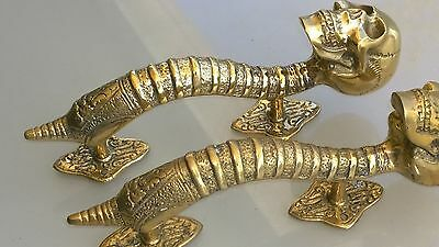 "3 small SKULL head handle DOOR PULL spine natural AGED BRASS old style 8"" B 9"