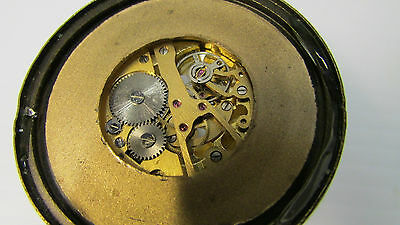 Antique Oriental Brass and Magnifying Dome Shaped Glass Paper Weight Clock 4 • £50.55