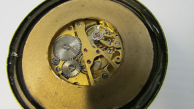 Antique Oriental Brass and Magnifying Dome Shaped Glass Paper Weight Clock 4