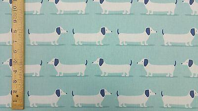 Fryetts Hound Dog Duck Egg Curtain Upholstery Craft Designer Cotton Fabric