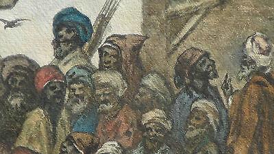 "Luigi Feerazi (Italy) 1876 Original Watercolor Orientalist Painting""cock Fightin 8"