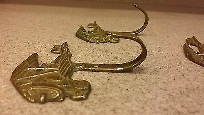 "Vintage THREE Brass Hooks shaped as Bi-Plane- 3-1/2"" wide - Decorator pieces 5"