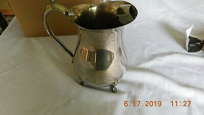 Vintage Leonard silver plate footed water pitcher w/ice lip. 3