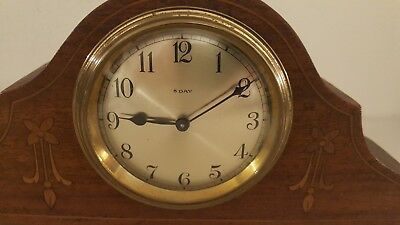 Antique Working French Victorian Inlaid Mini Mahogany Tambour Mantel Shelf Clock 4
