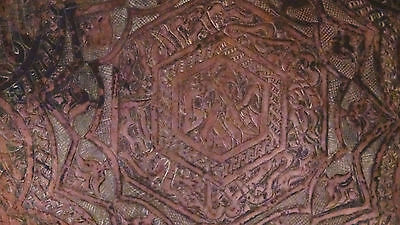 ANTIQUE 18c ARABIC ISLAMIC COPPER TRAY - 99 NAMES OF ALLAH IN ETCHED CALLIGRAPHY 5