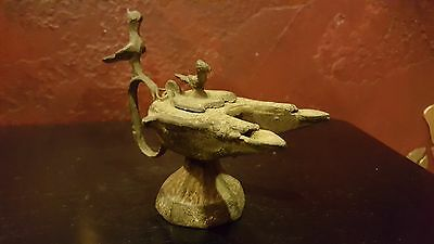 Ancient Byzantine Oil Lamp 6Th - 7Th Century A.d. Bronze Early Double Spout Bird 12