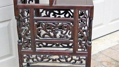 Antique Chinese Rosewood Handcarved Pierced Dragon Step Tansu Plant Stand #2 4