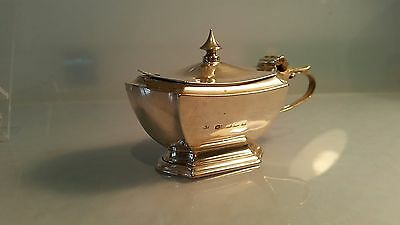 Edwardian Silver mustard pot with hinged lid 2