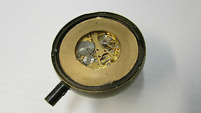Antique Oriental Brass and Magnifying Dome Shaped Glass Paper Weight Clock 3