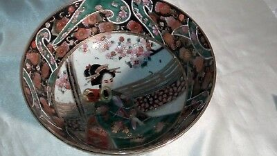 A Vintage Handpainted , Gilded & Decorated , Satsuma , Japanese Porcelain Bowl 11