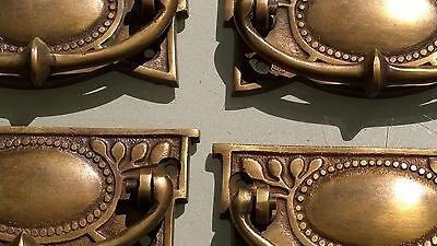 4 heavy vintage old style handles door brass furniture antiques 95 mm pulls 2