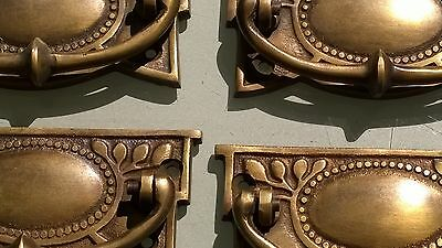 8 heavy vintage old style handles door brass furniture antiques 95 mm pulls B 6