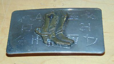 Vintage Belt Buckle W/Boots Cattle Brands Silvertone Chambers Belt Co-5 1/4x2 2