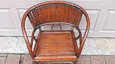 ANTIQUE 19c CHINESE BAMBOO RATTAN CHILD ARM CHAIR 5