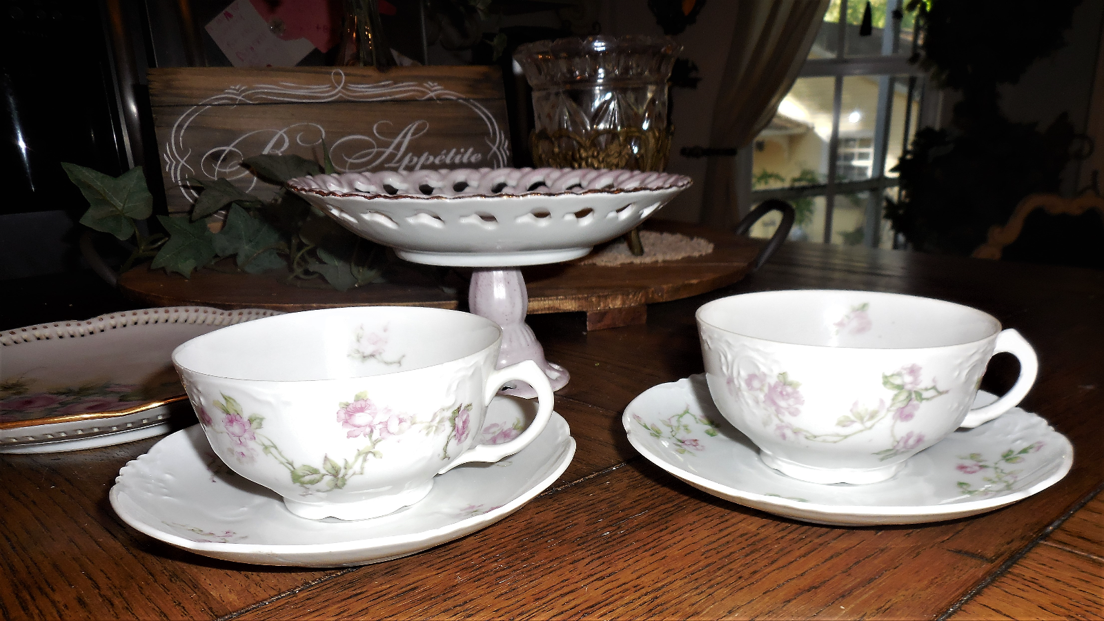 bc96c4766f Habsburg China Mixed 6 Piece Tea Cup & Saucer Set- Cake & Display Plate  FLOWERS 3 3 of 12 ...