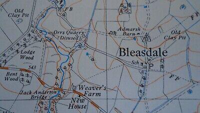 """Ordnance Survey Map 2.5"""" map SD54 Bleasdale 1968 Claughton Scorton Lancs. Canal 4"""