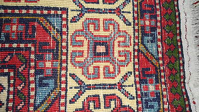 Antique Authentic 100% Wool Hand Made Knotted Vintage Kazak Rug 4