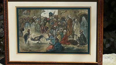 "Luigi Feerazi (Italy) 1876 Original Watercolor Orientalist Painting""cock Fightin 2"