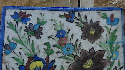 "ANTIQUE 18c-19c ARABIC ISLAMIC POTTERY GLAZED ""FLOWERS"" WALL PLAQUE 5"