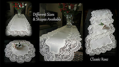 """Classic Rose Lace Doily European Round 16"""" Table Topper Antique White 6"""