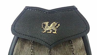New Highland Kilt Sporran Semi Dress Seal Skin Welsh Dragon Antique/Kilt Sporran 2