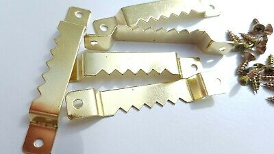 10 Sawtooth Picture Hanger Canvas Frames 63mm Brassed With Screws 12